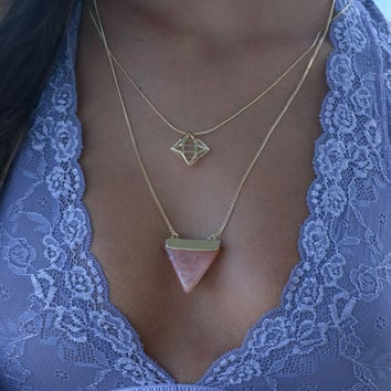 Helena Pink Triangle Tiered Necklace