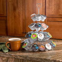 Evelots Decorative Coffee Capsule Holder Display Tower,Holds 42 Capsules, Silver