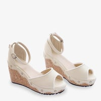 Summer Princess Wedges In White
