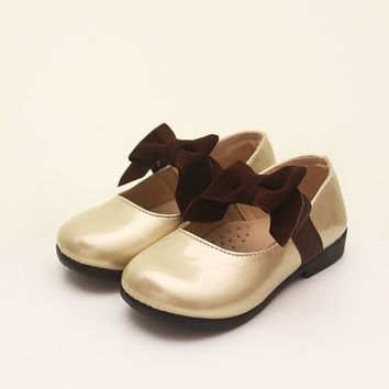 Kids Girls Princess Bowknot Pumps Soft Leather Flats Slip-on Shoes. = 1705116420