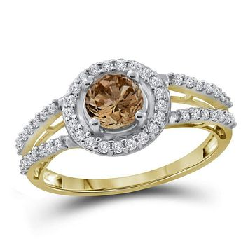 10kt Yellow Gold Women's Round Brown Color Enhanced Diamond Solitaire Bridal Wedding Engagement Ring 1.00 Cttw - FREE Shipping (US/CAN)
