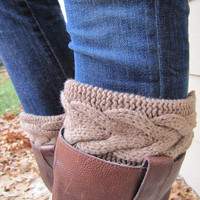 Boot Sock with Cuff-Full boot Sock sock Included- Topper-Boot Sock- Brown Large Cable Knit -Full sock included