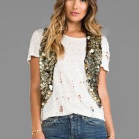 Free People Gold Coin Vest in Metallic Gold
