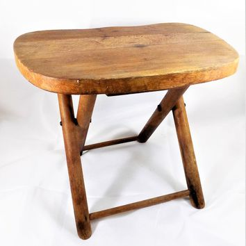 Nevco Folding Stool, Wood Foot Stool, Fold'n Carry, Made in Yugoslavia, Vintage Children's Furniture