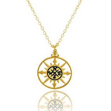 GORGEOUS TALE Hunger Game Jewelry Gold Color Bijoux Femme Vintage Round Coin Fashion Compass Necklaces For Women Wedding Gift