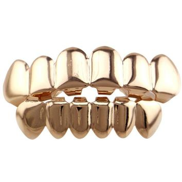 DCCKF4S Real Shiny! Gold color /black/rose Gold /silver Color Hip Hop Teeth Grillz Top & Bootom Set With  Vampire Teeth