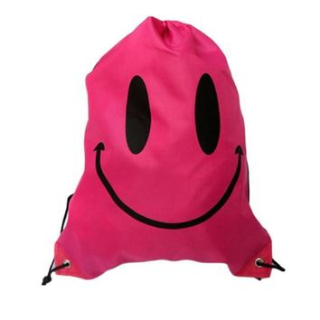 Pink Smiley Face Double Layer Drawstring Waterproof Gym Bag