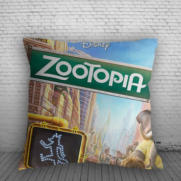 Zootopia Disneys Pillow, Pillow Case, Pillow Cover, 16 x 16 Inch One Side, 16 x 16 Inch Two Side, 18 x 18 Inch One Side, 18 x 18 Inch Two Side, 20 x 20 Inch One Side, 20 x 20 Inch Two Side