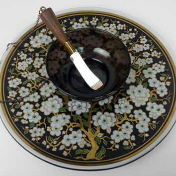 Vintage Glass Serving Plate, Cheese Plate with Attached Spreading Knife, Hors D'Oeuvre Plate, Mid Century Decor, Black Gold Decor, Asian