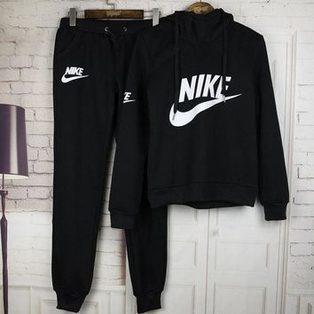 DCCKUH3 Nike Casual Print Hoodie Sweater Pants Trousers Set Two-Piece