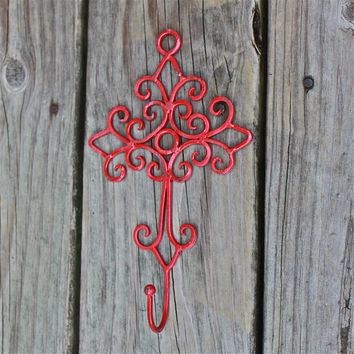 Wall Hook Hanger, Bright Red Iron Cross, Ornate, Bright Single Hook, Shabby Chic, Painted Metal, Nursery Decor, Jewelry Accessory,