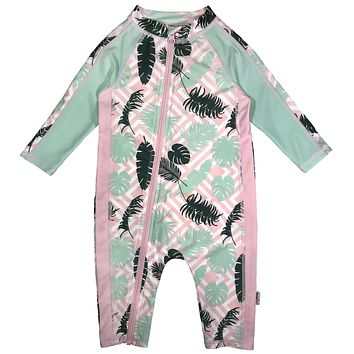 "Sunsuit - Girl Long Sleeve Romper Swimsuit with UPF 50+ UV Sun Protection | ""Palms"""