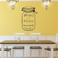 Custom Mother's Day Vinyl Wall Decal Mason Jar Moms Kitchen with Date Vinyl Decal 22522