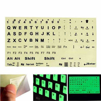 English US Keyboard Fluorescent Sticker Large Black Letters for Laptop Hot CAHU