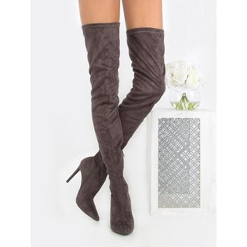 Tie Back Stiletto Thigh High Boots GREY