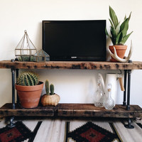 Reclaimed Barn Wood Industrial Pipe Console Table - Shoe Rack - Shelf-TV Stand