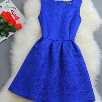 Embossed Floral Carvings Sheath Mini Dress