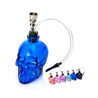 Dual Purpose Smoking Shisha Hookah Double Circulation Water Tobacco Pipe Filter Cigarette Holder Smoke Bong Glass Skull