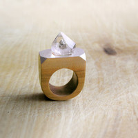 Gemstone geometric wooden Ring with Rock Crystal, coctail statement ring, faceted gemstone wooden jewelry, geometric jewelry, brown silver