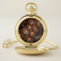Colorful Fluorescent Abstract Modern Brown Fractal Pocket Watch