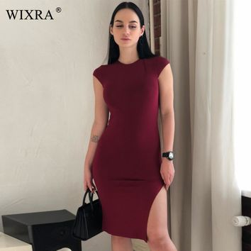 WIXRA Basic O Neck Dress Women Side Split High Stretched Ribbed Knit Dress Solid Brief Party Bodycon Pencil Midi Casual Dresses