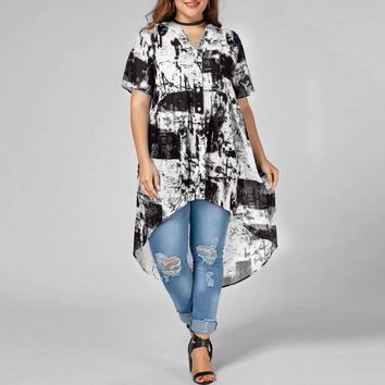 Women's Plus Size Summer Casual High-Low Blouse.   Available in Black/White and Navy/White.    In Sizes Medium to 5XL.   ***FREE SHIPPING***
