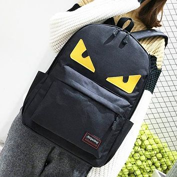 Fendi Fashion New Eye Canvas Women Men Leisure Backpack Bag Black