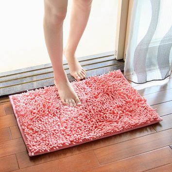 3 sizes Bath Mat Bathroom Carpet Bathroom Mat For Toilet Bathroom Rug Toilet Mat Tub Rug Anti-slipping Absorbent Soft Chenille