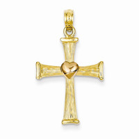 14k Gold Two-tone Cross with Pink Heart Pendant