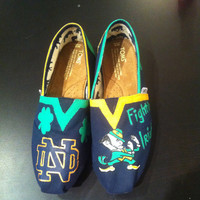 Notre Dame Fighting Irish Hand Painted Toms With Original Tags