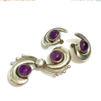 Modernist Sterling Silver & Amethyst Demi, Brooch and Earrings, Amethyst Cabochons, Mexican Silver Set, Pre 1948 Hallmark, Vintage Jewelry