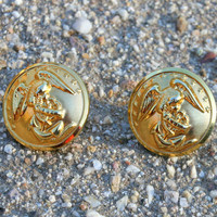 Sweetheart Jewelry - Post Earrings made with large US Marine Corps Brass Uniform Buttons