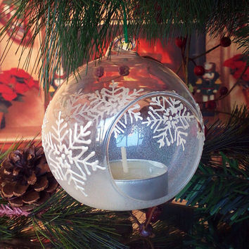 PERSONALIZED Hand painted glass ball Christmas tree ornament  White Winter Snowflakes Candle holder
