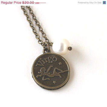 VALENTINES DAY SALE Virgo astrology zodiac star sign charm and white pearl antique bronze necklace