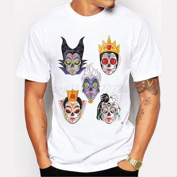 New fashion Dragon Queen design The Halloween men's sugar skull printed t-shirt boy's casual tops male hipster funny cool tee