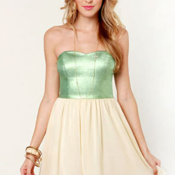 By De-Shine Cream and Metallic Green Dress