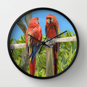 Scarlet Macaw Parrots Perching Wall Clock by Distortion Art