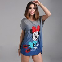 2017 summer Plus size Minnies T Shirt  Big Size Women Mouses Printing T shirt Long Style Loose Casual Tees Sweet Minnie Tops
