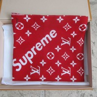 SUPREME X LOUIS VUITTON RED SCARF/WRAP ECH.SP ROUGE NEW W/ TAGS/BOX MP1890 SOLD
