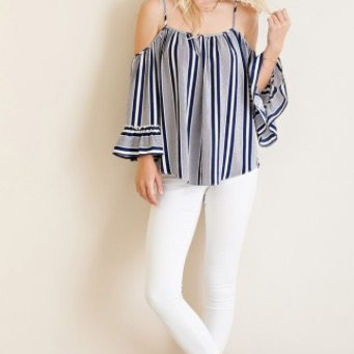 Entro USA Navy striped cold shoulder top
