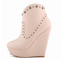 Soft Leather Rivets Wedges Boots