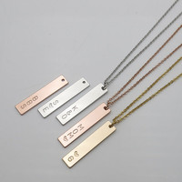 Personalized gifts Vertical Name Bar necklace bridesmaid gifts christmas gifts hand stamped jewelry mom Gift
