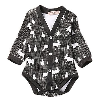Newborn Baby Boys Gentleman Clothes Deer Rompers Long Sleeve Button Jumpsuit Outfits Set