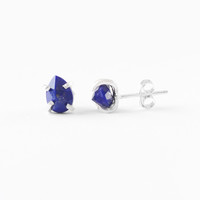 Lapis Lazuli Tear Drop Stud Earrings in Sterling