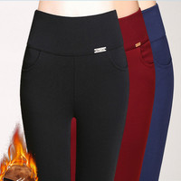 winter style fashion 5 color Iron card With velvet women high waish Gold Cashmere warm pants S-6XL,5XL,4XL full length capris