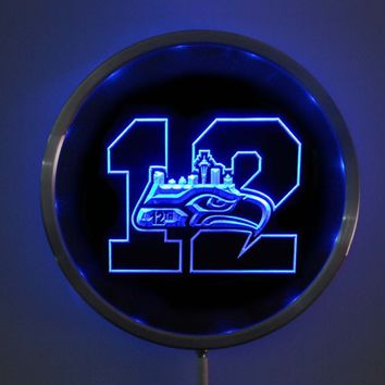 rs-b1581 Seattle Seahawks 12 Man LED Neon Round Signs 25cm/ 10 Inch - Bar Sign with RGB Multi-Color Remote Wireless Control