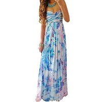 Women's Autumn Strapless Chiffon Long Maxi Floral Evening Dress