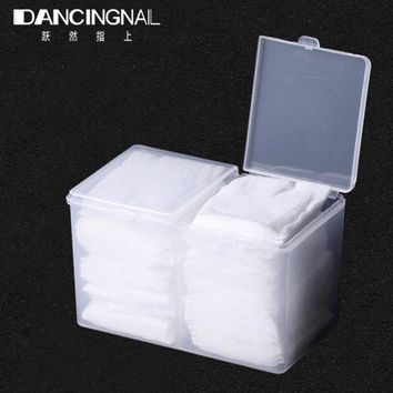 2-Compartments Clear Remover Cotton Pad Swab Container UV Gel Polish Glitter Powder Storage Box Makeup Nail Art Tool Organizer