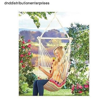 Hammock Chair Swing Garden Yard Patio Camp Cotton Canvas Woven Rope Striped NEW