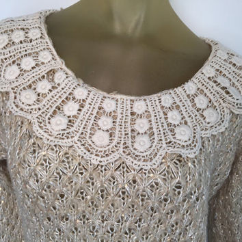 Lace Collar Sweater Beige Soft Wool Blend Sparkle Sequin Country Doily Collar Long Sleeve Textured Knit   Prarie style frilly boho sweater